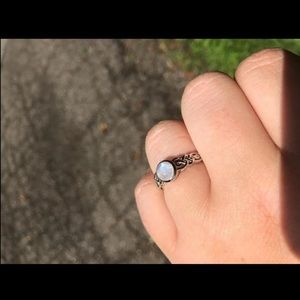 Solid Silver Celtic Knot Moonstone Ring
